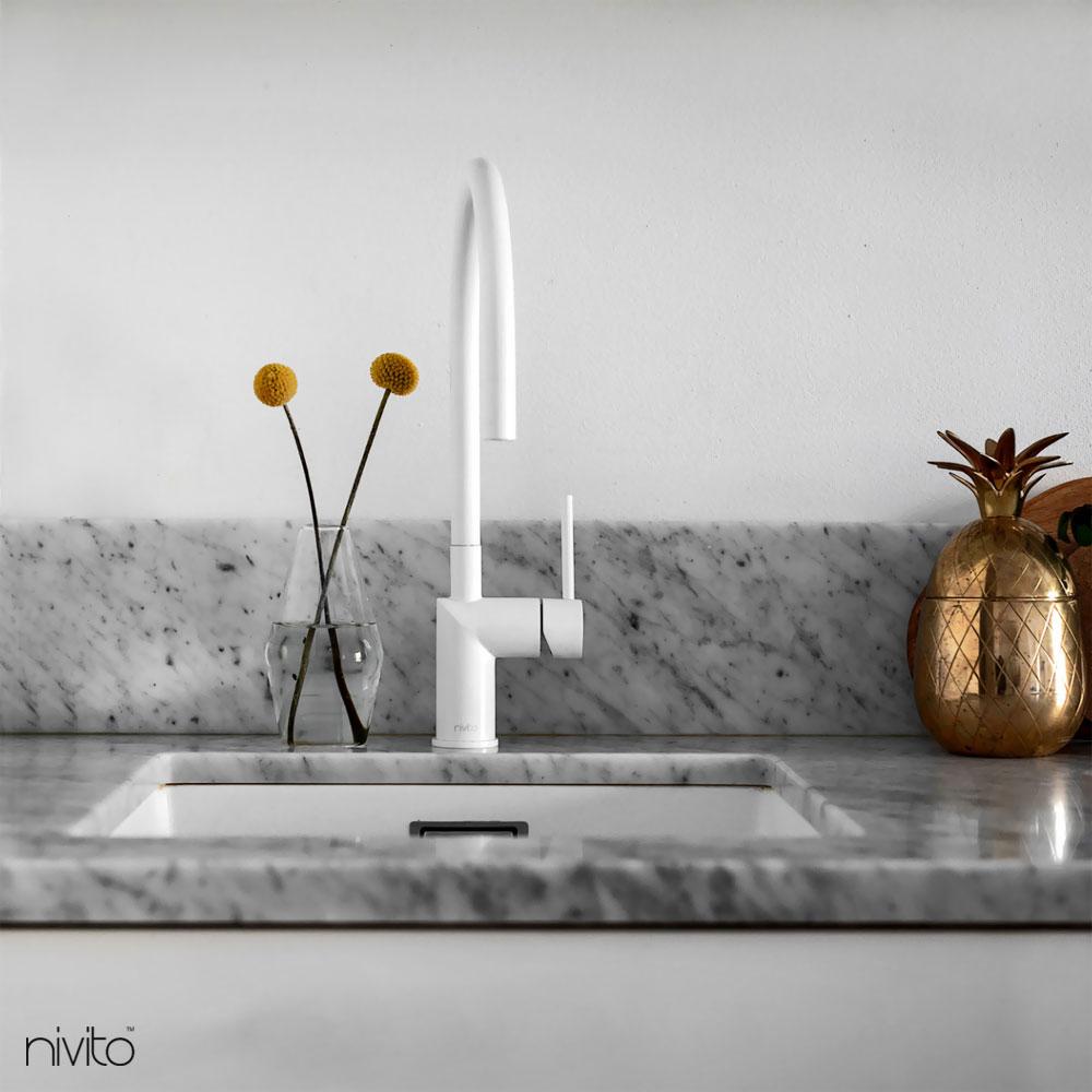 White Kitchen Mixer Tap - Nivito RH-130