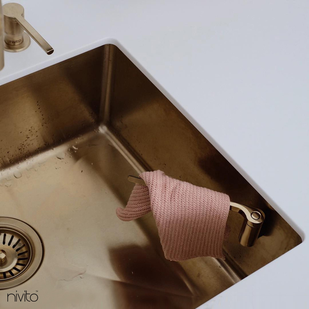 Brass/Gold Kitchen Mixer Tap Pullout hose - Nivito RH-340-EX
