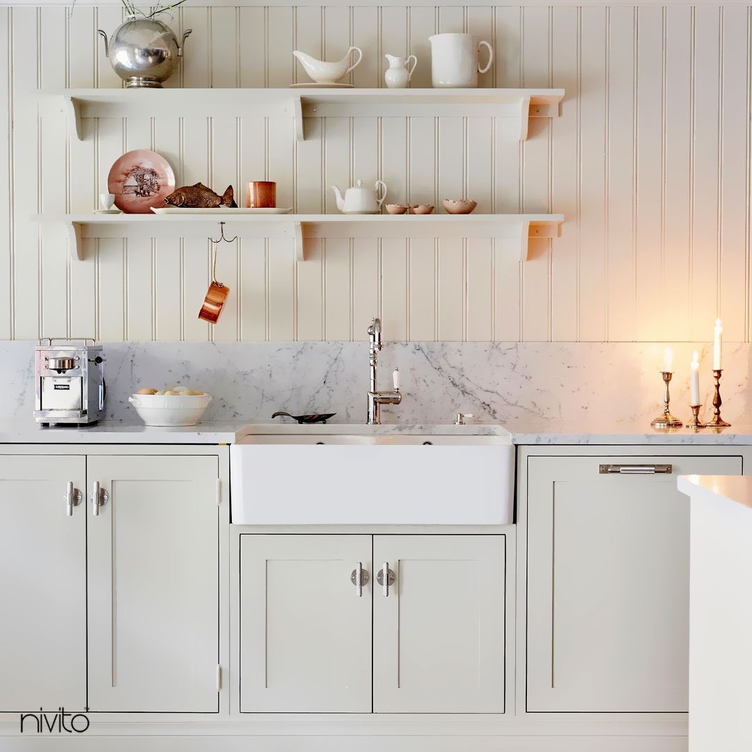 Kitchen Mixer Tap - Nivito CL-110 White Porcelain Handle Color