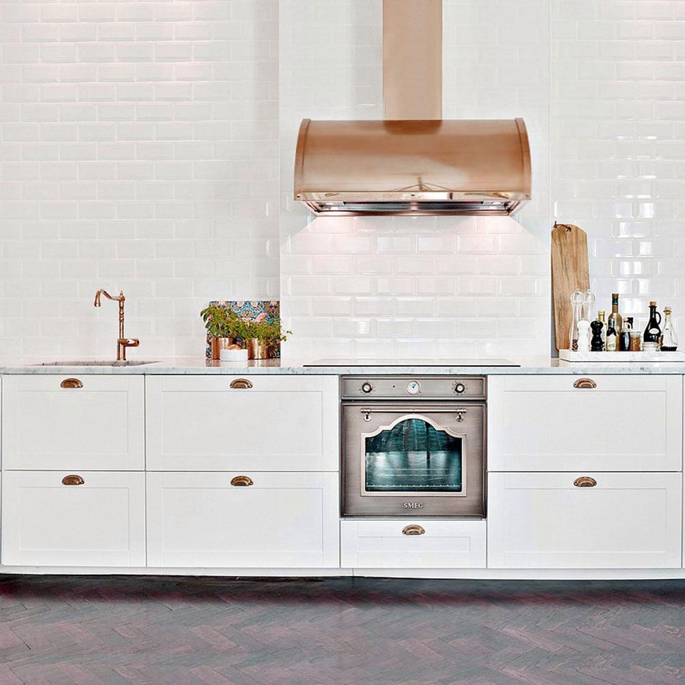 Copper Kitchen Mixer Tap - Nivito CL-170 White Porcelain Handle Color