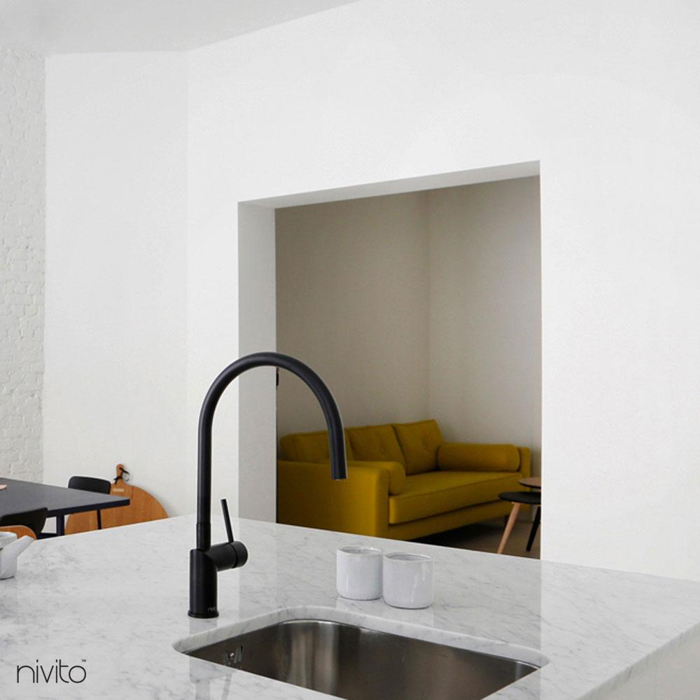 Black Kitchen Mixer Tap - Nivito RH-120