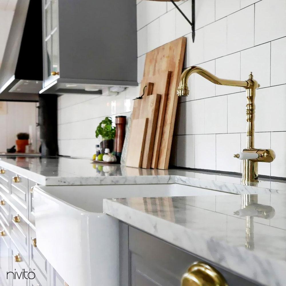 Brass/Gold Kitchen Mixer Tap - Nivito CL-160 White Porcelain Handle Color