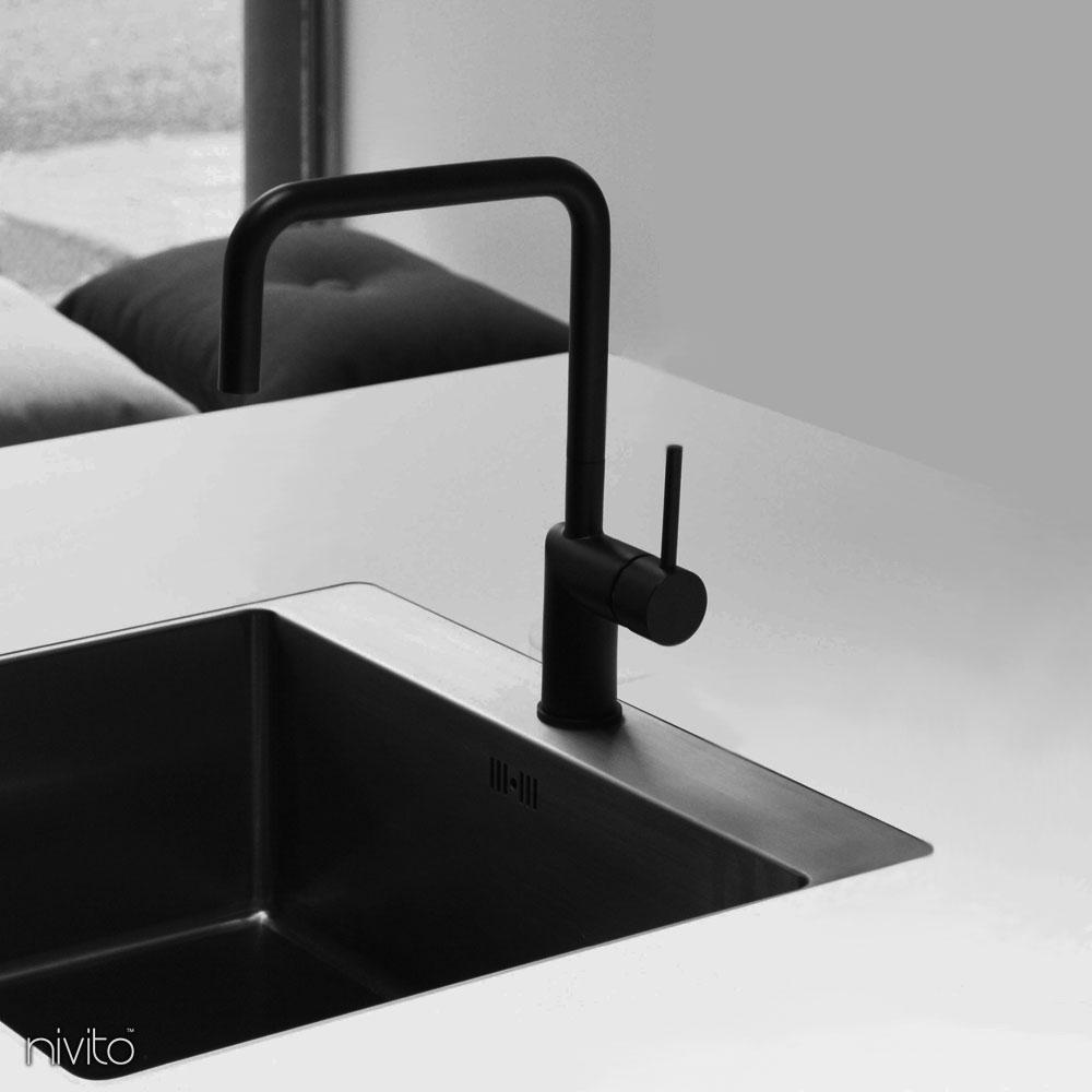Black Kitchen Sink Mixer Tap - Nivito RH-320