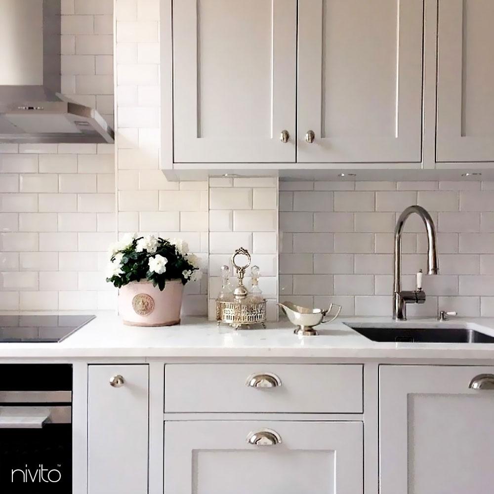 Kitchen Mixer Tap Pullout hose - Nivito CL-210 White Porcelain Handle Color