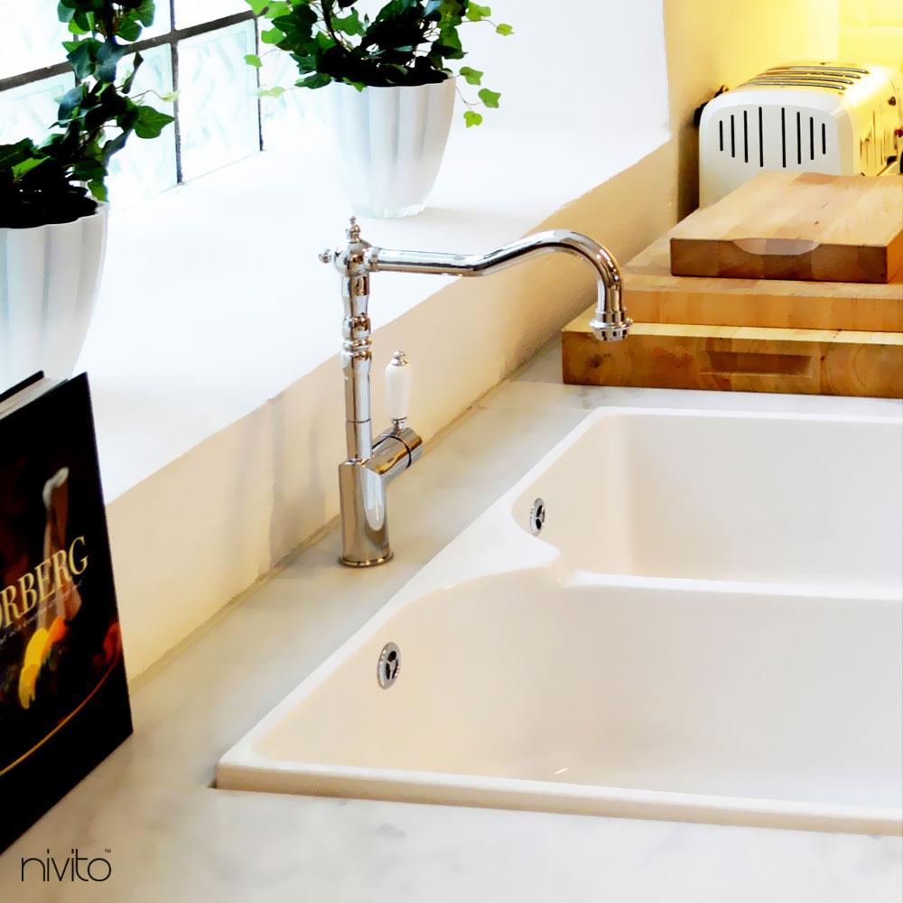 Kitchen Sink Mixer Tap - Nivito CL-110 White Porcelain Handle Color
