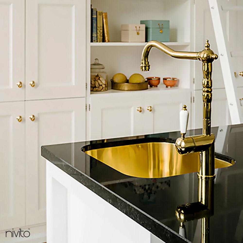 Brass/Gold Kitchen Sink Mixer Tap - Nivito CL-160 White Porcelain Handle Color