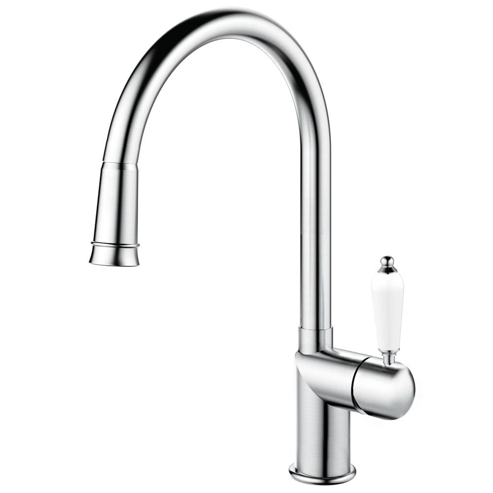 Stainless Steel Mixer Tap Pullout hose - Nivito CL-200 White Porcelain Handle Color