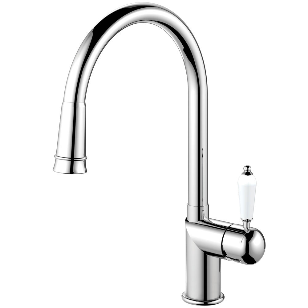 Kitchen Mixer Tap Pullout hose - Nivito CL-210 White Porcelain Handle Color