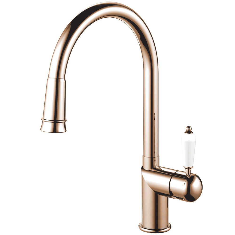 Copper Kitchen Mixer Tap Pullout hose - Nivito CL-270 White Porcelain Handle Color