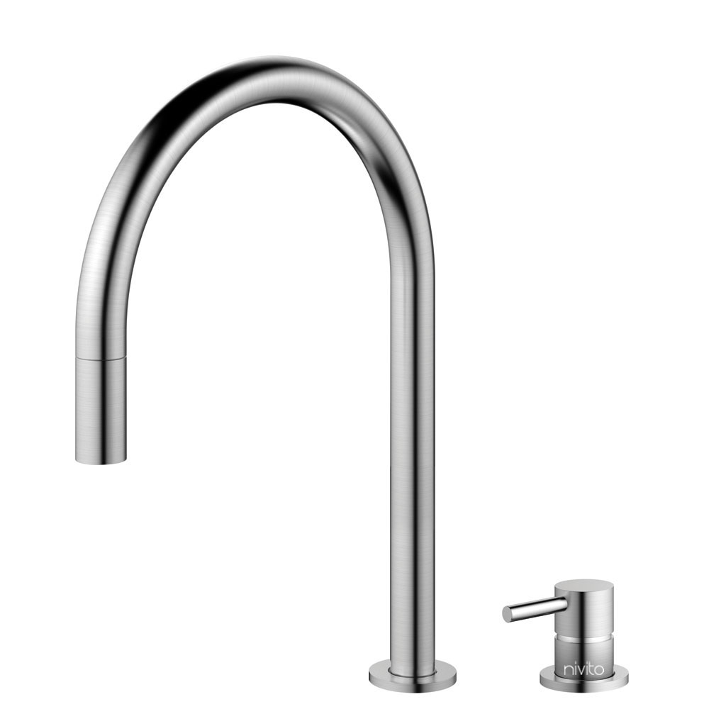 Stainless Steel Kitchen Mixer Tap Pullout hose / Seperated Body/Pipe - Nivito RH-100-VI