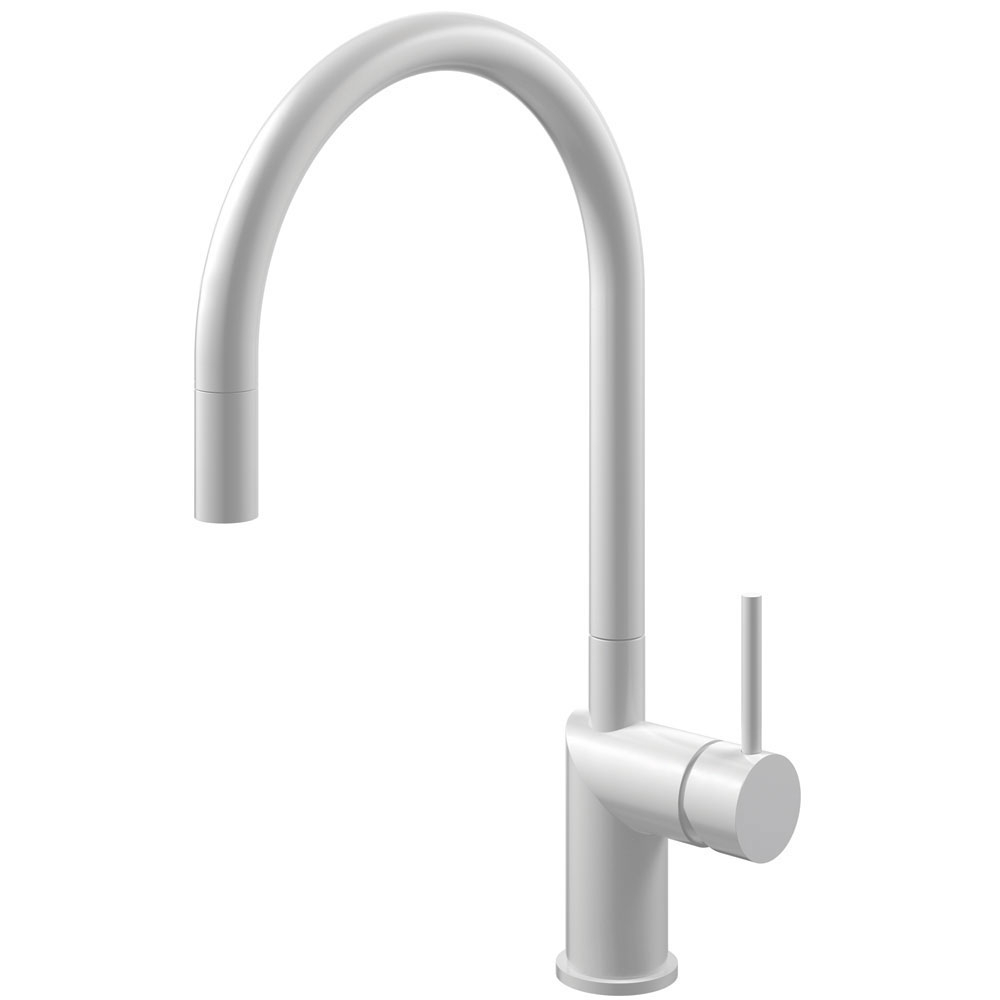 White Kitchen Sink Mixer Tap Pullout hose - Nivito RH-130-EX