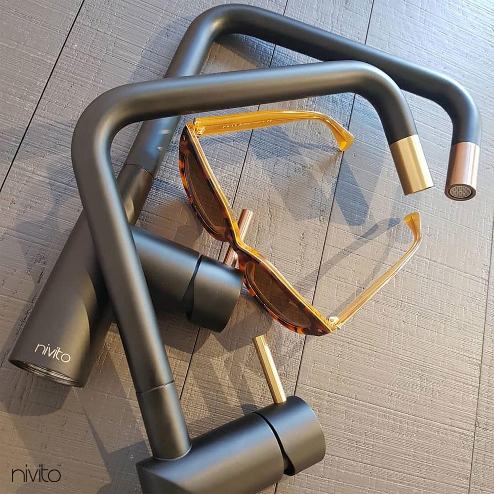 Brass/Gold Kitchen Mixer Tap Black/Gold/Brass - Nivito RH-340-BISTRO
