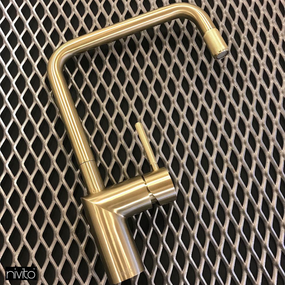 Brass/Gold Kitchen Sink Mixer Tap - Nivito RH-340-IN