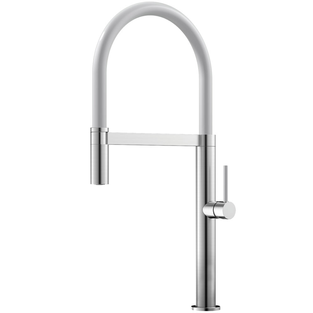 Stainless Steel Kitchen Sink Mixer Tap Pullout hose / Brushed/White - Nivito SH-300