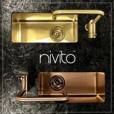 Brass/Gold Kitchen Sink - Nivito 1-CU-180-BB
