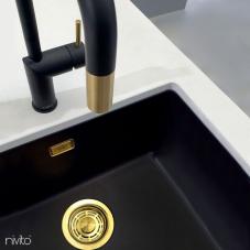 Brass/Gold Kitchen Mixer Tap Black/Gold/Brass / Pullout hose - Nivito RH-340-EX-BISTRO