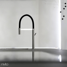 Stainless Steel Kitchen Mixer Tap Pullout hose / Brushed/Black - Nivito 1-SH-200
