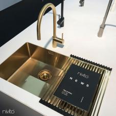 Brass/Gold Kitchen Mixer Tap Pullout hose - Nivito RH-140-EX