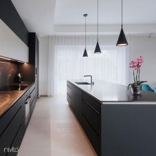 Black Kitchen Mixer Tap Pullout hose / Seperated Body/Pipe - Nivito RH-620-VI