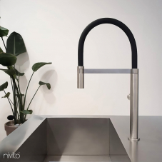 Stainless Steel Kitchen Mixer Tap Pullout hose / Brushed/Black - Nivito 2-SH-200