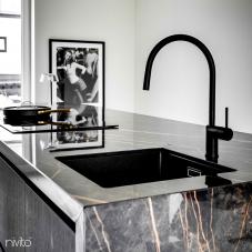 Black Kitchen Mixer Tap Pullout hose - Nivito RH-120-EX
