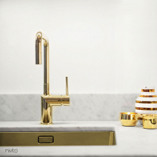 Brass/Gold Kitchen Mixer Tap - Nivito 3-RH-360