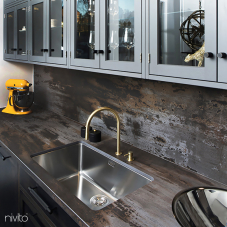 Brass/Gold Kitchen Mixer Tap Pullout hose / Seperated Body/Pipe - Nivito 6-RH-140-VI