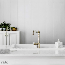 Brass/Gold Kitchen Mixer Tap - Nivito 7-CL-160