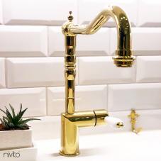 Brass/Gold Kitchen Mixer Tap - Nivito 8-CL-160