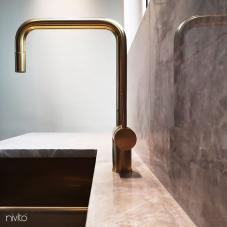 Brass/Gold Kitchen Mixer Tap Pullout hose - Nivito 8-RH-340-EX