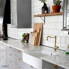 Brass/Gold Kitchen Mixer Tap - Nivito 9-CL-160