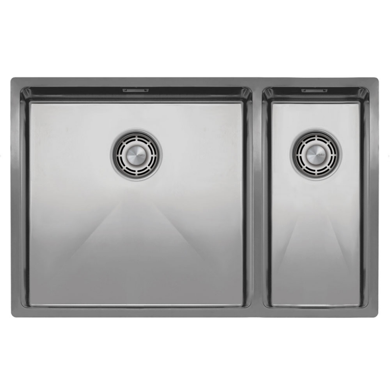 Stainless Steel Kitchen Sink - Nivito CU-500-180-B Brushed Steel Strainer ∕ Waste Kit Color