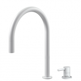 White Kitchen Mixer Tap Pullout hose / Seperated Body/Pipe - Nivito RH-130-VI