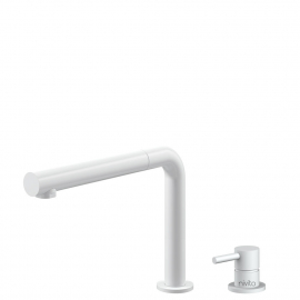 White Kitchen Mixer Tap Pullout hose / Seperated Body/Pipe - Nivito RH-630-VI